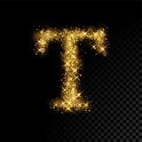 Gold glittering letter T on black background Stock Image