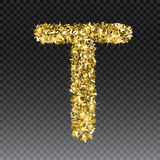 Gold glittering letter T. Vector shining golden font lettering of sparkles on checkered background.  vector illustration