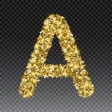 Gold glittering letter A. Vector shining golden font lettering of sparkles on checkered background.  vector illustration