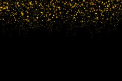 Gold glittering light bokeh abstract particles with christmas dark background.  vector illustration