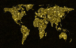 Gold glittering light world map. Sparkling world map royalty free stock photo