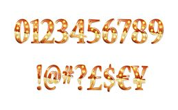 Gold glittering metal alphabet. Gold glittering metal alphabet - numbers, currency signs. Vector illustration. On a white background Stock Photo