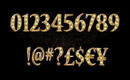 Gold glittering metal alphabet. Gold glittering metal alphabet - numbers, currency signs. Vector illustration. On a dark background Royalty Free Stock Photo