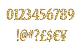 Gold glittering metal alphabet. Gold glittering metal alphabet - numbers, currency signs. Vector illustration. On a white background Stock Images