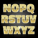 Gold glittering metal alphabet set N to Z Stock Photo