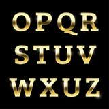 Gold glittering metal alphabet set O to Z uppercase. Gold glittering metal alphabet set from O to Z uppercase Stock Photos