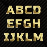 Gold glittering metal alphabet set A to M Royalty Free Stock Photo