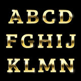 Gold glittering metal alphabet set A to N uppercase. Royalty Free Stock Image