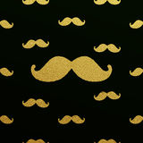 Gold glittering mustache pattern Royalty Free Stock Photography