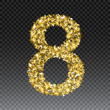Gold glittering number eight.Vector shining golden font figure lettering of sparkles on checkered background.  Stock Images