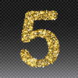 Gold glittering number five.Vector shining golden font figure lettering of sparkles on checkered background.  Stock Images