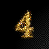Gold glittering number Four 4 on black background vector illustration
