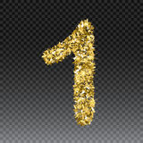 Gold glittering number one. Vector shining golden font figure lettering of sparkles on checkered background.  Royalty Free Stock Images