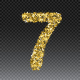 Gold glittering number seven.Vector shining golden font figure lettering of sparkles on checkered background.  Stock Image