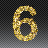 Gold glittering number six.Vector shining golden font figure lettering of sparkles on checkered background.  Royalty Free Stock Photos