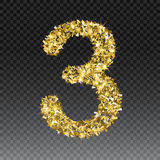 Gold glittering number three. Vector shining golden font figure lettering of sparkles on checkered background.  Stock Photography