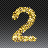 Gold glittering number two. Vector shining golden font figure lettering of sparkles on checkered background.  Royalty Free Stock Image