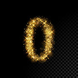 Gold glittering number 0 Zero on black background. Gold glittering number 0 Zero. Vector shining golden font figure lettering of sparkles on black background Royalty Free Stock Photos