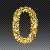 Gold glittering number zero. Vector shining golden font figure lettering of sparkles on checkered background.  Royalty Free Stock Photography