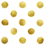Gold glittering polka dot stains pattern Royalty Free Stock Photography