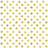 Gold glittering polka dot stains pattern. Gold glittering polka dot pattern on white background Stock Image