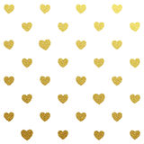 Gold glittering seamless pattern of hearts Royalty Free Stock Photography