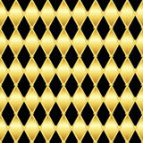 Gold glittering seamless pattern of triangles Royalty Free Stock Image