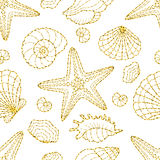 Gold glittering seashels and starfishes seamless pattern on white background. Royalty Free Stock Photos