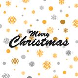Gold glittering snowflakes and merry christmas lettering design. Vector illustration Stock Illustration