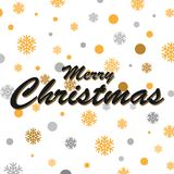 Gold glittering snowflakes and merry christmas lettering design. Vector illustration Stock Photography