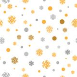 Gold glittering snowflakes seamless pattern background, vector. Illustration Royalty Free Stock Photos