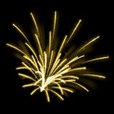 Gold glittering sparkle fireworks. Explosions Stock Photos