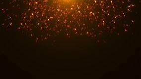 Gold glittering sparkles in space, many particles, celebratory 3d rendering background. For holidays vector illustration
