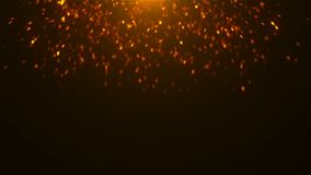 Gold glittering sparkles in space, many particles, celebratory 3d rendering background. For holidays royalty free illustration