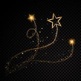 Gold glittering spiral star dust trail sparkling particles on transparent background. Space comet tail. Vector glamour. Fashion illustration set Stock Image