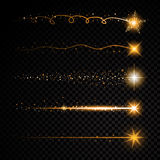 Gold glittering spiral star dust trail sparkling particles on transparent background. Space comet tail. Vector glamour Stock Images