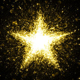 Gold glittering star of blinking stars. Explosion Stock Image
