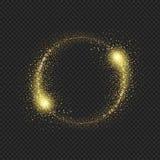 Gold glittering star dust circle on black background.  royalty free illustration