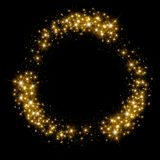 Gold glittering star dust circle Royalty Free Stock Photo