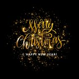 Gold glittering star dust circle. Illustartion of Gold glittering star dust circle with merry christmas and happy new year lettering Royalty Free Stock Photography