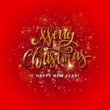 Gold glittering star dust circle. Illustartion of Gold glittering star dust circle with merry christmas and happy new year lettering Stock Photo