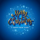 Gold glittering star dust circle. Illustartion of Gold glittering star dust circle with merry christmas and happy new year lettering Stock Photography