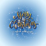 Gold glittering star dust circle. Illustration of Gold glittering star dust circle with merry christmas and happy new year lettering Stock Images