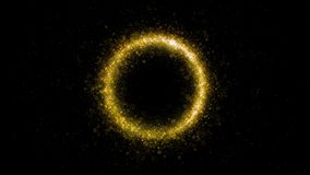 Gold glittering star dust circle of trail sparkling particles on black background. Magic golden circle royalty free illustration