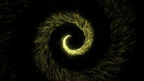 Gold glittering star dust circle of trail sparkling particles on black stock illustration