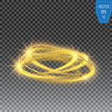 Gold glittering star dust circles. Twinkling ellipse on checkered background, vector illustration Royalty Free Stock Image