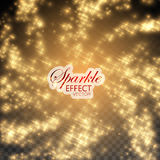 Gold glittering star dust. Golden Sparkling Glitters and Stars. Vector Festive Illustration of Flying Shiny Particles. Fire Stars Isolated on Transparent Stock Images
