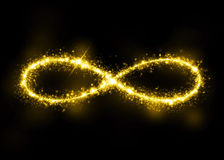 Gold glittering star dust infinity loop Royalty Free Stock Photo