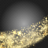 Gold glittering star dust trail sparkling particles on transparent background. Space comet tail. Vector glamour fashion Stock Image