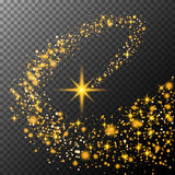 Gold glittering star dust trail sparkling particles on transparent background. Space comet tail. Vector glamour fashion illustration. art stock illustration